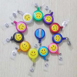 Wholesale Packaging Clip Art - New Fashion 20 Pieces Retractable Reel Lanyard Smiling Face Card Badge Holder School Office Supplies Metal Clip Easy to Use Stationery