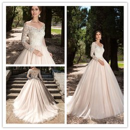Wholesale Champagne Long Sleeve Lace - 2017 New Sexy Elegant Off The Shoulder Long Sleeves Lace A Line Wedding Dresses Champagne Tulle Court Train Bridal Gowns With Buttons