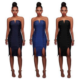 Wholesale Bodycon Sleeveless Denim Dress - 2017 New Hot Sale Fashion Back Zipper 2 Lines of Ring Holes V-neck Women Sexy Denim Party Club Nightclub Wear Dresses