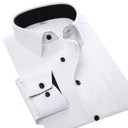 Wholesale Men Office Shirts - Wholesale- Basic Office Working Dress Shirt Men Long Sleeve Solid Color White Black Pink Blue Red Male Shirts Camisa Masculina Social Homme