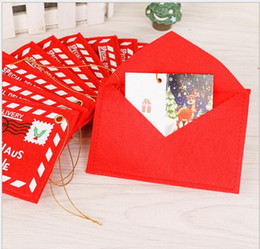 Wholesale Shipping Bags For Hair - 2016 New Year Christmas Envelope Christmas Cards Candy Bag christmas decorations for home DHL Free Shipping