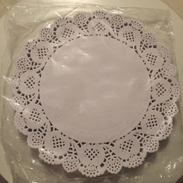 Wholesale Cake Doilies - Wholesale- 9.5 inch Round Doily Paper white lace cake Grease-proof Paper Wedding Party Christmas Table Decoration Paper Doilies