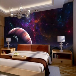 Wholesale Fabric Photo Paper - Wholesale-photo wallpaper quality flash silver fabric   top surface bedroom bedside fantasy universe stars planets large mural wallpaper
