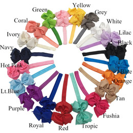 Wholesale Grossgrain Ribbons Bows - XIMA 20pcs lot 4inch Solid Color Grossgrain Hair Ribbon Bows Glued On Headband Hair Accessories