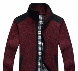 Wholesale Cardigans Sweaters For Men - New Arrives Autumn Winter Men's Cardigans Sweaters Mandarin Collar Casual Clothes For Men Zipper Sweater Warm Knitwear Sweater