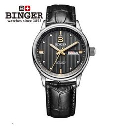 Wholesale Geneva Stripes Watch - Original New Geneva Brand Binger watches Dual Time Military Watch Waterproof Relojes relogio esporte Men Sport stripe Automatic wristwatch