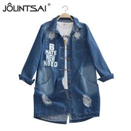 Wholesale Down Coat Ladies Pattern - Wholesale- Plus Size 6XL 2016 Ladies Denim Jackets Spring Turn Down Collar Hole Long Sleeve Casual Denim Jacket Women Jeans Coat Outerwear