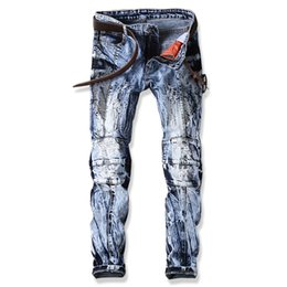 Wholesale Free Famous Logos - Jeans Men Streetwear Famous Brand Logo Snow Ripped Hole Biker Man Jeans Trousers Slim Straight Denim Stretch Male Skinny jeans Plus szie 38