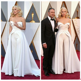 Wholesale Sexy Strapless Jumpsuit - 88th Oscar Lady Gaga Red Carpet Prom Dresses 2016 White Pants Jumpsuit Unique Outfits Evening Gowns Celebrity Dresses Maxwell Fashion Satin