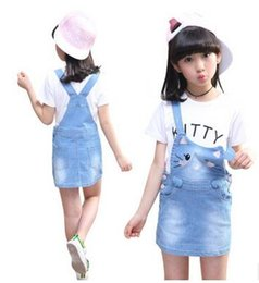 Wholesale Denim Overalls For Kids - Kids Clothing Sets For Girls Outfits 2017 Children Letter T-Shirts & Denim Overalls 2Pcs Cartoon Dress For Girls School Uniforms