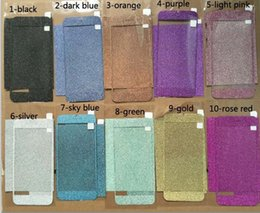 Wholesale Iphone 4s Side Protector - Full Body Sticker Bling Skin Cover Glitter Diamond Front Sides Back Screen Protector Film For iPhone 4 4S 5 5S 5c SE 6 6s 7 Plus DHL Free