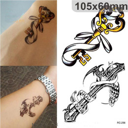 Wholesale Crown Vintage Key - NEW Waterproof 3d Tattoo Sticker Cross Key Crown Temporary Tattoos Stickers Vintage for Men free shipping