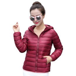Wholesale Slim Thin Down Jacket - Women Down Coats 2017 Hooded 90% White Duck Jacket Autumn Winter New Warm Slim Zipper Fashion Light Down Coat Parkas Plus Size