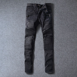 Wholesale Cargo Jeans Military Fashion - Thick Stitch Mens Distressed Jeans Ripped 3D Crinkle Whiskers Male Fashion Denim Cargo Pants Vintage Washed Casual Pants