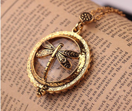 Wholesale Glass Dragonfly Pendant - 2017 gold plated Trendy Vintage magnifying glass Hollow dragonfly chain pendant Necklace for Women Statement Jewelry wholesale Free shipping