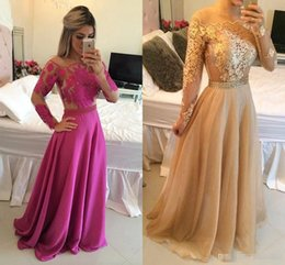 Wholesale High Neck Beaded Design - New Design 2017 A Line Arabic Formal Evening Dresses With Bateau Neck Long Sleeves Gold Lace Appliques Plus Size Formal Prom Occasion Gowns