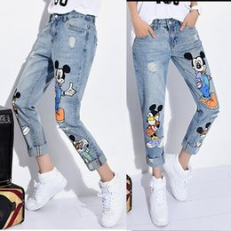 Wholesale Womens Boyfriend Jeans - Printing loose boyfriend jeans womens holes ripped straight plus size jeans for women cartoon girls destroyed jeans woman new capri pants