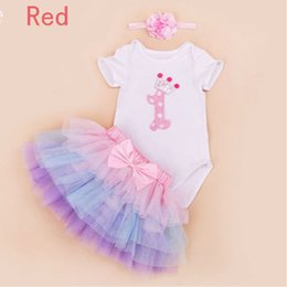 Wholesale Girls European Shoes - New Baby Girl Clothing Sets Lace Tutu Romper Dress Jumpersuit+Headband+Shoes 3pcs Set Bebe First Birthday Costumes