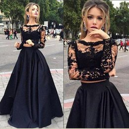 Wholesale Long Sleeve Black Lace Gown - Black Two Piece Prom Dresses with Pockets Lace Top And Satin Sheer Crew Neck Special Occasions Gowns Long Sleeves Lace Formal Gowns