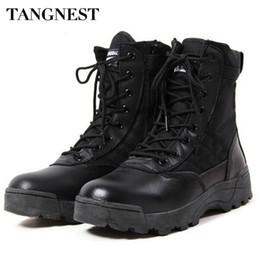 Wholesale Desert Special Combat Boots - Wholesale-Tangnest Men's Desert Boots Army Special Forces Tactical Combat Boot Autumn Mens Fashion High-top Shoes Footwear Big Size XMX285
