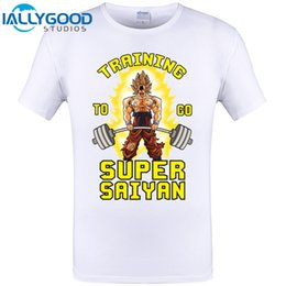 Wholesale Dragon Ball Z Frieza - Trainings To Go Super Saiyan T Shirt Men Goku Dragon Ball Z Super Gymer Vegeta Frieza Tops Tee Shirts Casual Cotton Print Tshirt