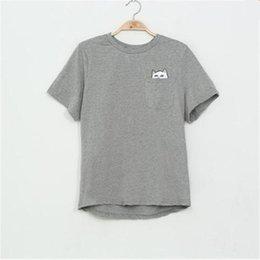 Wholesale Yellow Middle Finger T Shirts - Wholesale- Women T Shirt 2016 Summer Style T-shirt Print Middle Finger Pocket Cat Harajuku O-neck Short Sleeve Cotton Couple Tee Plus Size