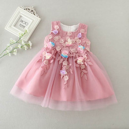 Wholesale Girls Pageant Costumes - Retail Infant Wedding Costume Baby Girl Flower Petals Dress Bridesmaid Elegant Dress Pageant Tulle Formal Party Dress 8516