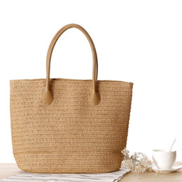 Wholesale Summer Weaved Straw Totes - 2017 Large Beach Bag for Summer Big Straw Bags Handmade Woven Tote Women Travel Handbags Luxury Designer Shopping Hand Bags C62