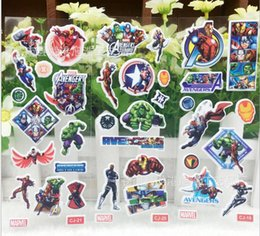 Wholesale avengers stickers - 100sheets lot New Arrival Movie The Avengers Stickers Dolls Toys For Children Mix Styles Cartoon Stickers Birthday Party Decoration