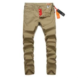 Wholesale Mens Slim Jeans Size 38 - Wholesale- Button Pants Men Slim Fit Denim Khaki Trousers Mix Print Superably Brand Jeans Trousers With Logo Mens Cargo Pants 28-38 U228A