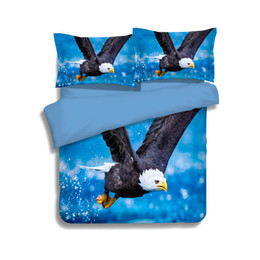 Wholesale Eagle Bedding - 3 Styles Blue Flying Eagle Printing Bedding Sets Twin Full Queen King Size Fabric Cotton Duvet Covers Set Pillow Shams Comforter Owl Animal