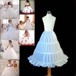 Wholesale Hoops For Girls - White Kids Pettocoat Flower Girls Underskirt For Wedding Custume Crinolina Kids' Accessories A-line 3 Hoops Cheap Crinoline