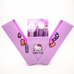 Wholesale Feather Kits - Cheap Price Hello Kitty Makeup Brushes Set Wit Mirror Case eyeshadow blush Brush Kit Make up Toiletry Beauty Appliances 8pcs brush set