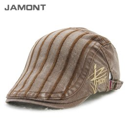 Wholesale Braided Beanie - [JAMONT] 2017 New Autumn Winter Vintage Striped Berets Men's Beret Hats Z-3501 shoescompany Exclusive customized design brand