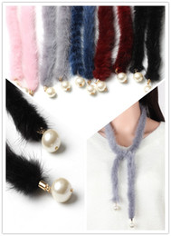 Wholesale Choker Scarf Necklace - 2017 Hot Choker Korean mink wool sweater chain long Necklaces Chokers pearl plush scarf necklace 5 colors