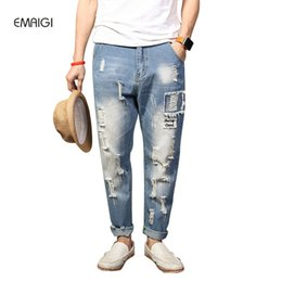 Wholesale Jeans Large Hip Hop - Wholesale- Large Size High Street Hip Hop Hole Patch Baggy Jeans Men's Brand Men Loose Denim Pants Male Fashion Casual Denim Harem Trousers