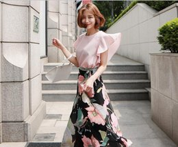 Wholesale Two Piece Ladies Dress Suits - 2017 Korea new two piece Beach Resort ladies skirt Floral Chiffon Maxi Dress Suit