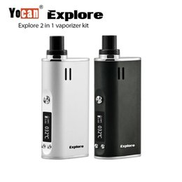 Wholesale One Wax Vaporizer - Original Yocan Explore 2 IN 1 Kit all in one Kits For wax & Dry Herb Coil 2600mah Battery AIO herbal vaporizer 100% Genuine 2204044