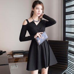 Wholesale Dress Long Asymmetric One Shoulder - The new 2017 new arrival winter koprean style cultivate one's morality dress sexy backless asymmetric stripe dress