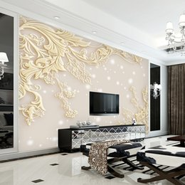 Wholesale Paintings Chinese Silk - 3d Stereo Luxurious Embossed Wallpaper Large Wall Painting Living Room Bedroom Video Background Wallpaper TV Wallpaper