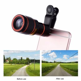 Wholesale Telescope Hd Camera - Clip-on 12x Optical Zoom HD Telescope Camera Lens For Universal Mobile Phone