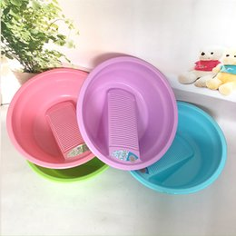 Wholesale Round Bowl Sink - 50cm Plastic Laundry Basin Large Home Supplies Washroom Thicker Plastic Durable Washboard Laundry Basin Save Time Hand