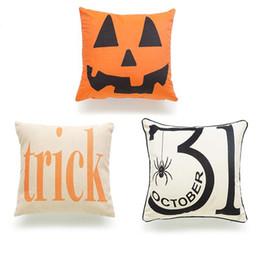 Wholesale Burlap Pillows Covers - 45*45Cm Halloween Cushion Cover Cushion Case Cotton Linen Square Burlap Decorative Pillow Case Cushions Cover Halloween Trick Pumpkin