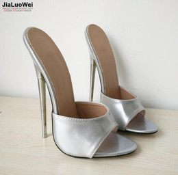 "Wholesale Customized Sandals - Free Ship 2018 Women sandals Summer heels 18cm 7"" EXTREME High Silver Shoes Sexy Fetish Metal Thin Heel Slip-On slides customize plus size"