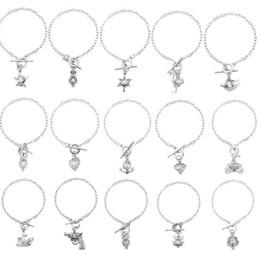 Wholesale Wholesale Locket Bracelet - 28styles Women Pearl Oyster Charm cage lockets Bracelets Fashion Silver Pistol Owl Ostrich Pearl Cage Pendant Locket Bracelet Jewelry D669