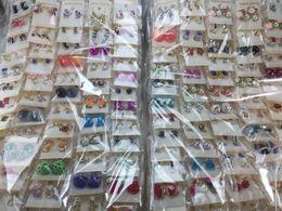Wholesale Pair Crystal Stud Earrings - Wholesale Lots Women Lady Earring Elegant Crystal Rhinestone Ear Stud Earrings Random Mixed Fashion Pairs