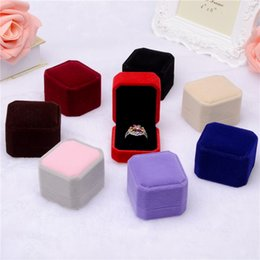 Wholesale Red Color Necklace - Fashion 1Piece Square Shape Velvet Jewelry Box Red Color Widget Box Necklace Ring Earrings Box 2017 New