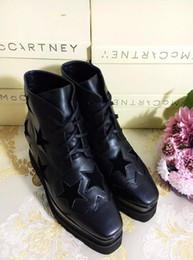 Wholesale Patent Shop - Stella Mccartney Shop Fashion Women Platform Shoes Black Genuine Leather Star Outsole Elyse Boots