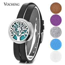 Wholesale Leather Padding - Essential Oil Diffuser Locket Bracelet Tree Stainless Steel Double Leather Openable without Felt Pads VA-582