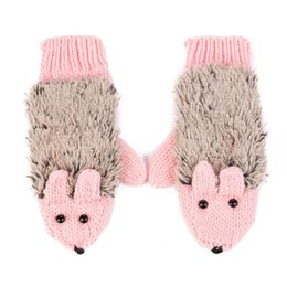 Wholesale Wholesale White Cotton Gloves - Wholesale- New Winter Warm Cartoon hedgehog gloves women cute knit outdoor Female cotton white Mittens
